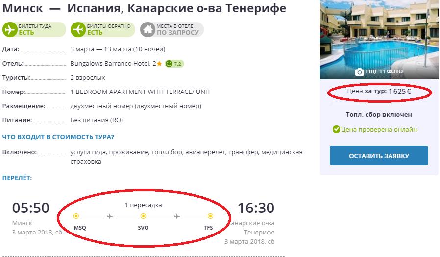 Tenerife iz Minska skrin putevodnaya zvezda